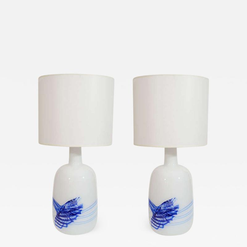 Michael Bang Michael Bang White Blue Glass Lamps