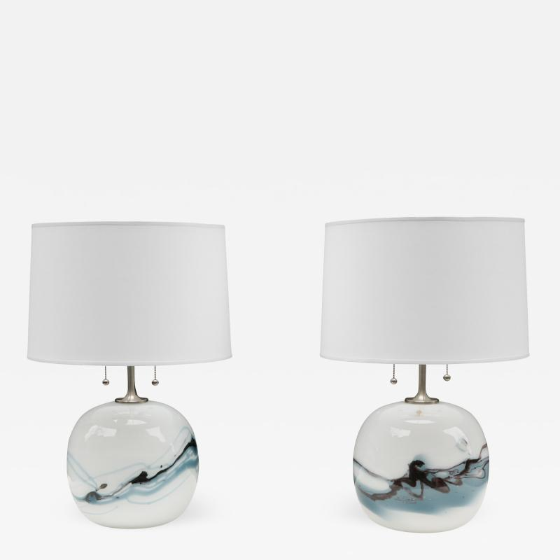 Michael Bang Pair of Michael Bang for Holmegaard Art Glass Table Lamps