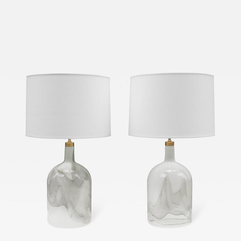 Michael Bang Pair of Michael Bang for Holmgaard Art Glass Table Lamps