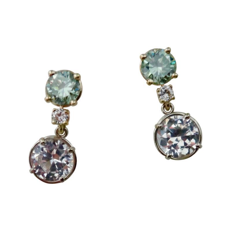 Michael Kneebone Green Zircon White Diamond and White Sapphire Dangle Earrings