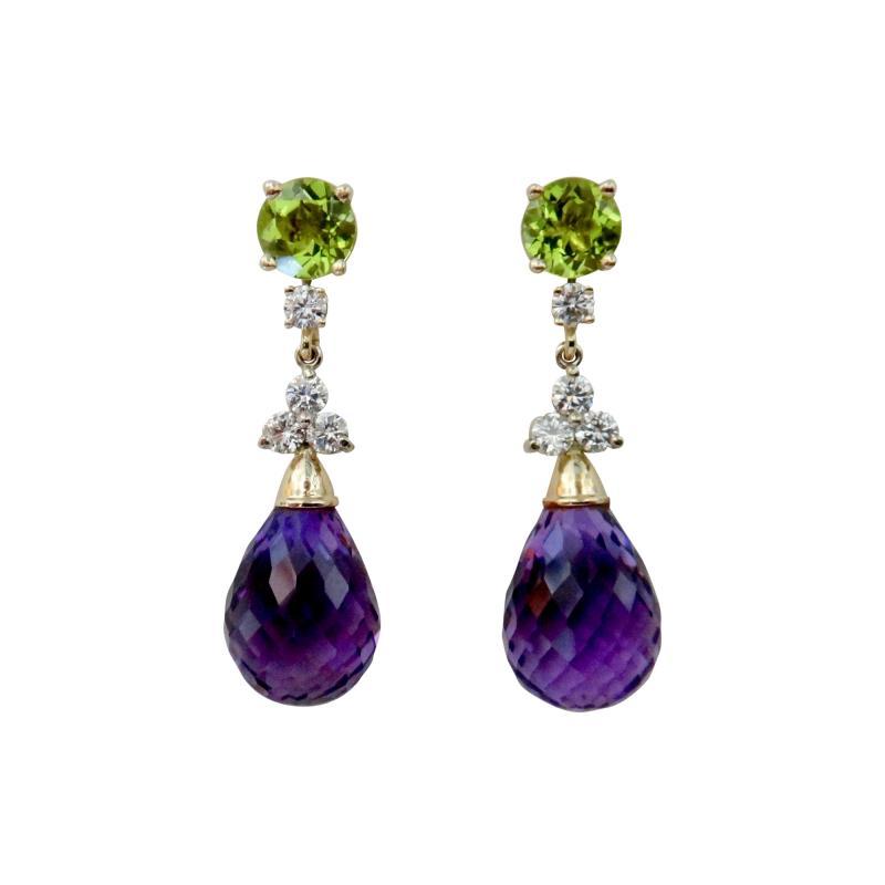 Michael Kneebone Michael Kneebone Amethyst Briolette Diamond Peridot Dangle Earrings