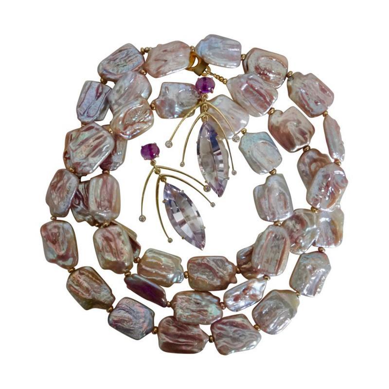 Michael Kneebone Michael Kneebone Amethyst Kinetic Dangle Earrings Tile Pearl Necklace Suite
