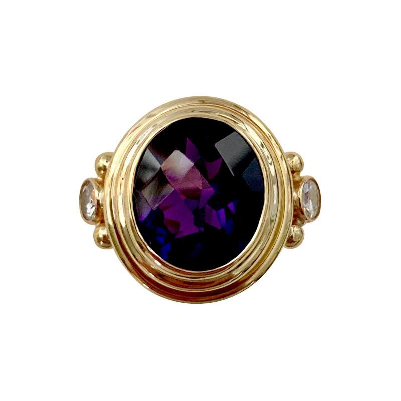 Michael Kneebone Michael Kneebone Amethyst White Diamond Archaic Style Cocktail Ring