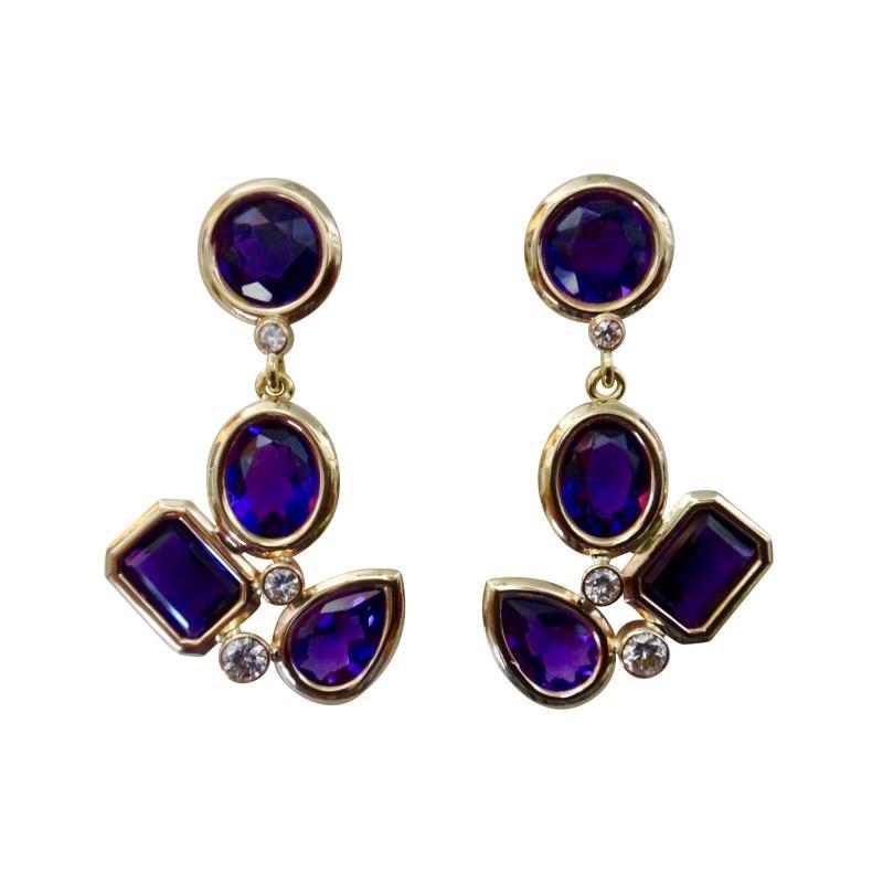 Michael Kneebone Michael Kneebone Amethyst White Diamond Confetti Dangle Earrings