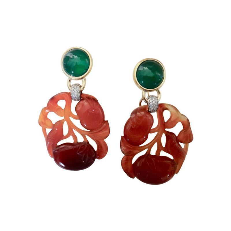 Michael Kneebone Michael Kneebone Antique Chinese Carnelian Chalcedony Diamond Dangle Earrings