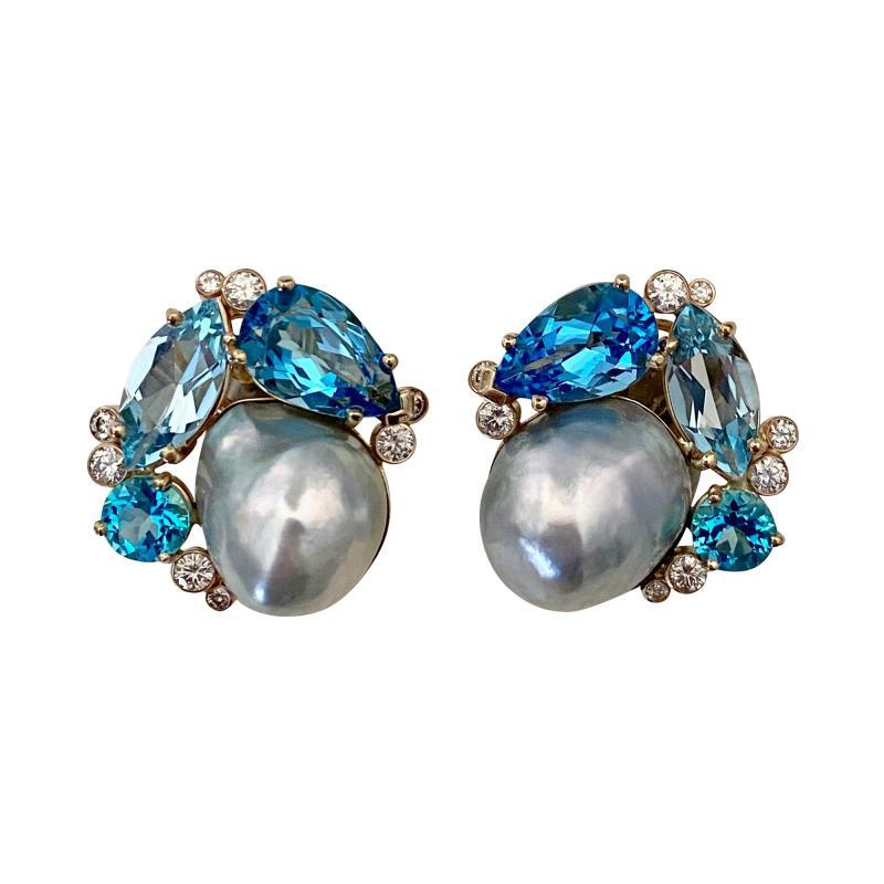 Michael Kneebone Michael Kneebone Apatite Blue Topaz Diamond 18k Gold Confetti Earrings