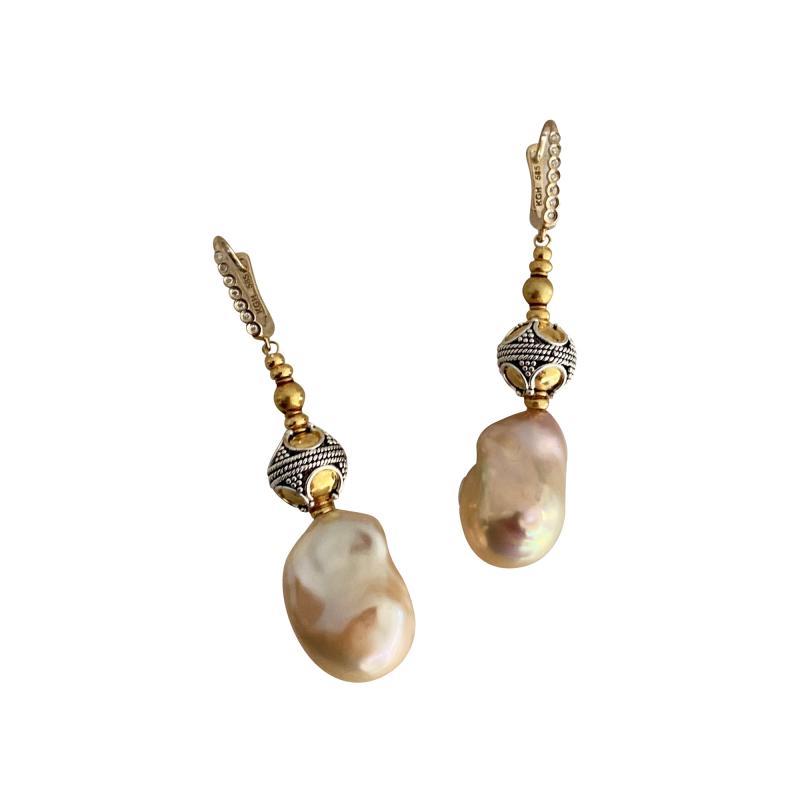 Michael Kneebone Michael Kneebone Baroque Pearl Diamond Granulated Bead Dangle Earrings