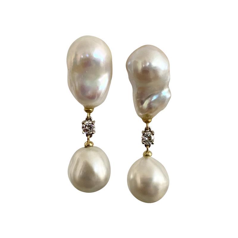 Michael Kneebone Michael Kneebone Baroque South Seas Pearl Diamond Dangle Earrings