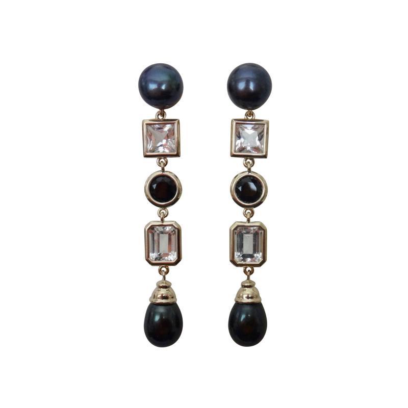 Michael Kneebone Michael Kneebone Black Pearl White Topaz Black Spinel Dangle Earrings