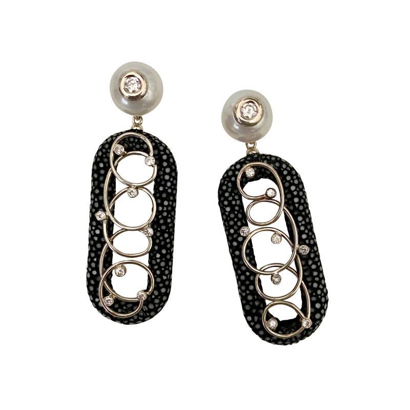 Michael Kneebone Michael Kneebone Black Shagreen White Pearl Diamond Dangle Earrings