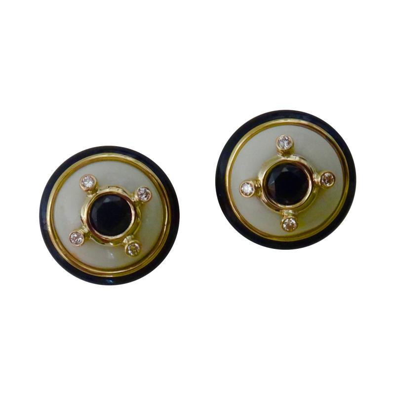 Michael Kneebone Michael Kneebone Black Spinel White Coral Diamond Onyx Button Earrings