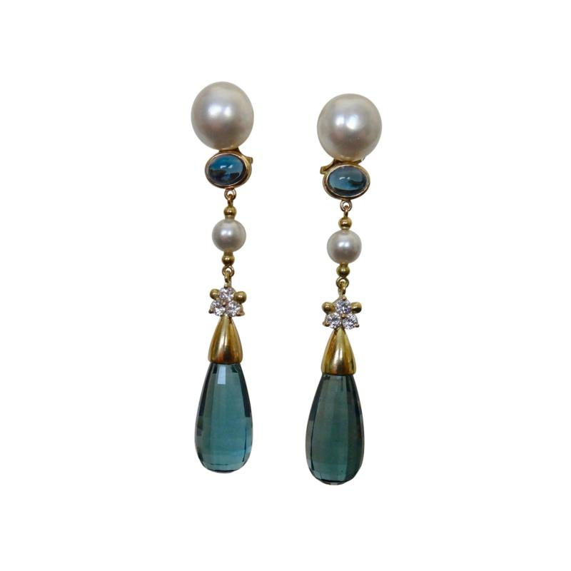 Michael Kneebone Michael Kneebone Blue Topaz Briolette Pearl Diamond Dangle Earrings