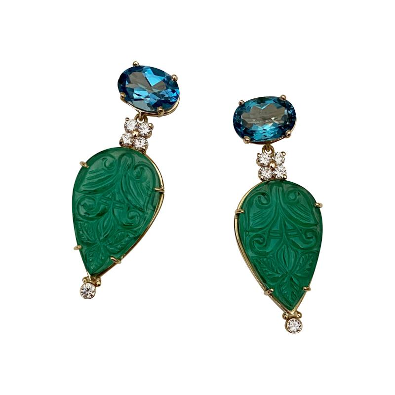 Michael Kneebone Michael Kneebone Blue Topaz Diamond Carved Green Quartz Dangle Earrings