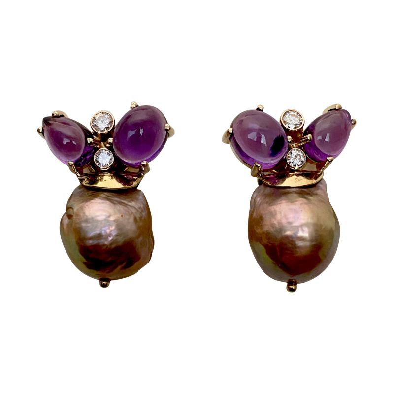Michael Kneebone Michael Kneebone Cabochon Amethyst Diamond Japanese Pearl Drop Earrings