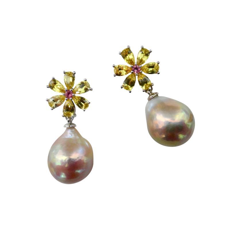 Michael Kneebone Michael Kneebone Citrine Pink Tourmaline Kasumi Pearl Flower Dangle Earrings
