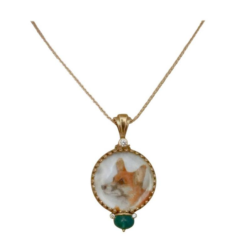 Michael Kneebone Michael Kneebone Emerald Diamond Gold Welsh Corgi Portrait Pendant