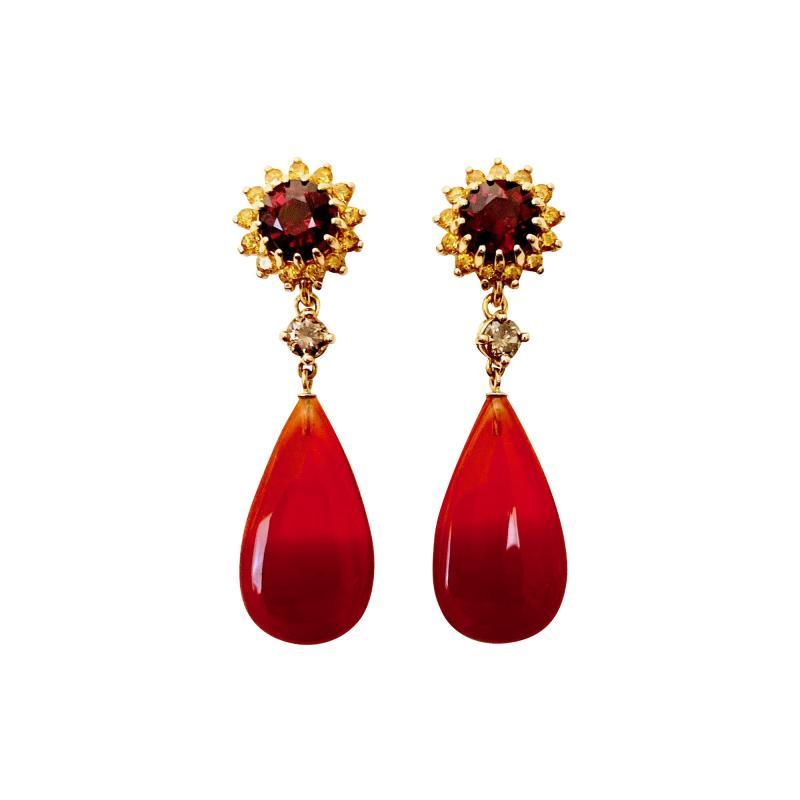 Michael Kneebone Michael Kneebone Garnet Yellow Sapphire Fire Opal Diamond Dangle Earrings