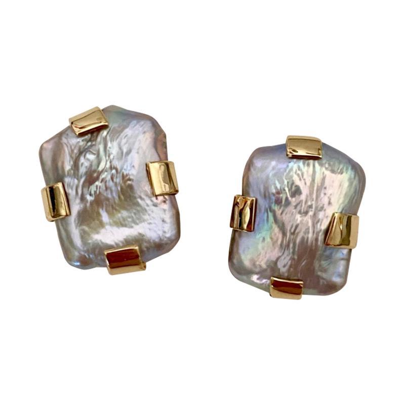 Michael Kneebone Michael Kneebone Gray Tile Pearl Button Earrings