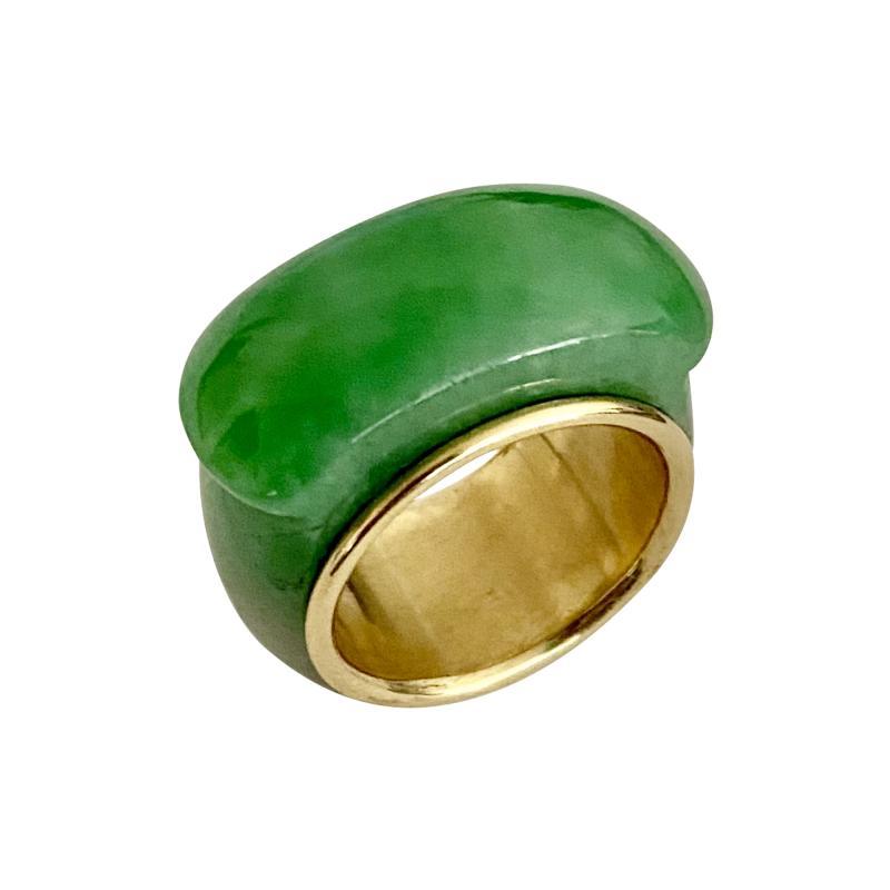 Michael Kneebone Michael Kneebone Green Burmese Jadeite 18k Yellow Gold Saddle Ring