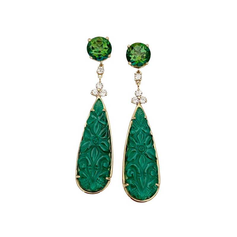 Michael Kneebone Michael Kneebone Green Topaz Diamond Green Onyx Dangle Earrings