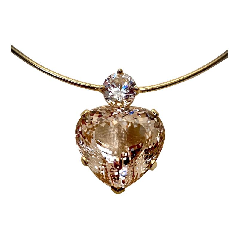Michael Kneebone Michael Kneebone Heart Shaped Champagne Topaz White Sapphire Pendant