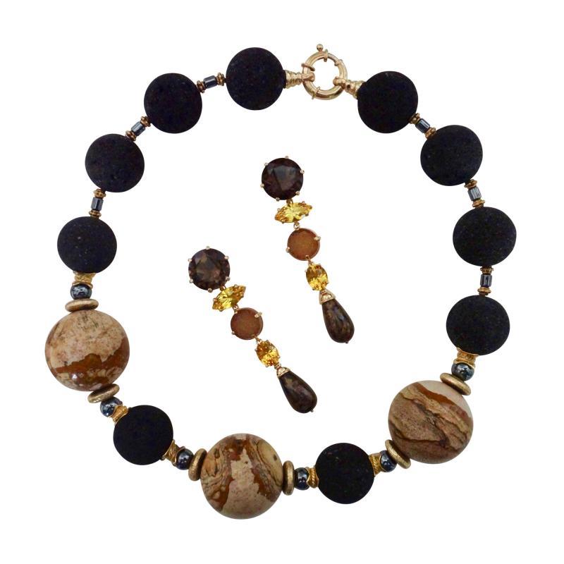 Michael Kneebone Michael Kneebone Jasper Bead Necklace Multi Gemstone Dangle Earring Suite