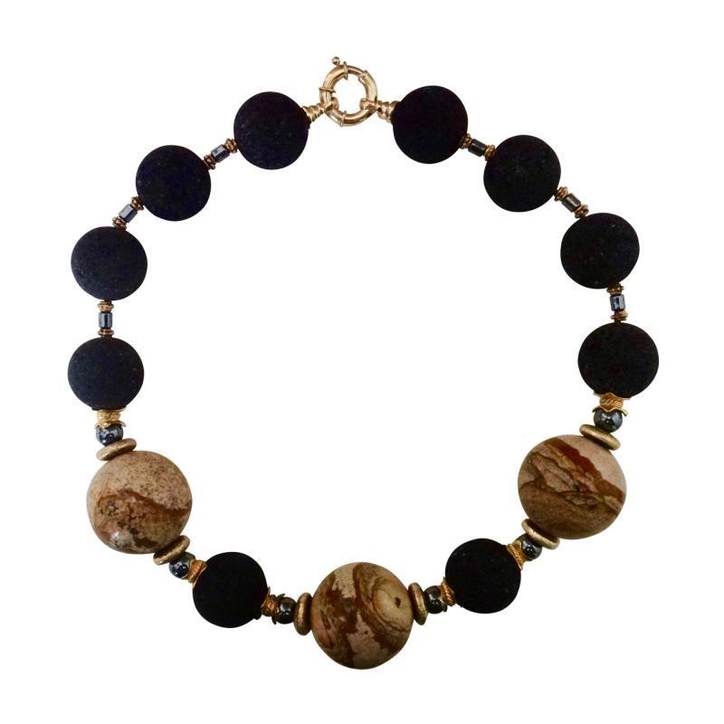 Michael Kneebone Michael Kneebone Jasper Lava Rock Hematite Bead Necklace