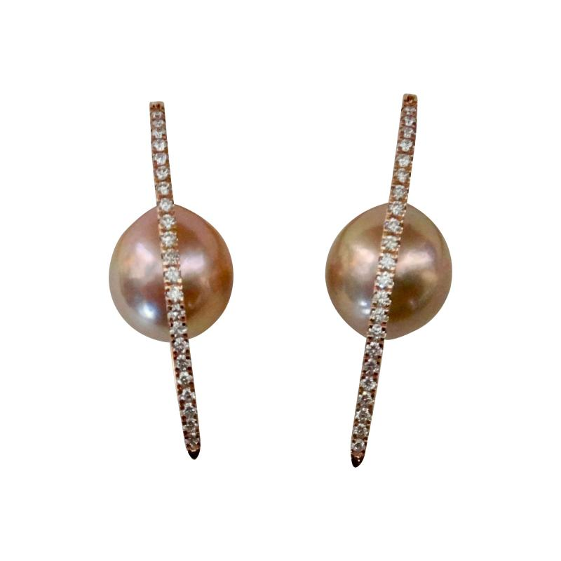 Michael Kneebone Michael Kneebone Kasumi Pearl Diamond Rose Gold Broken Hoop Earrings