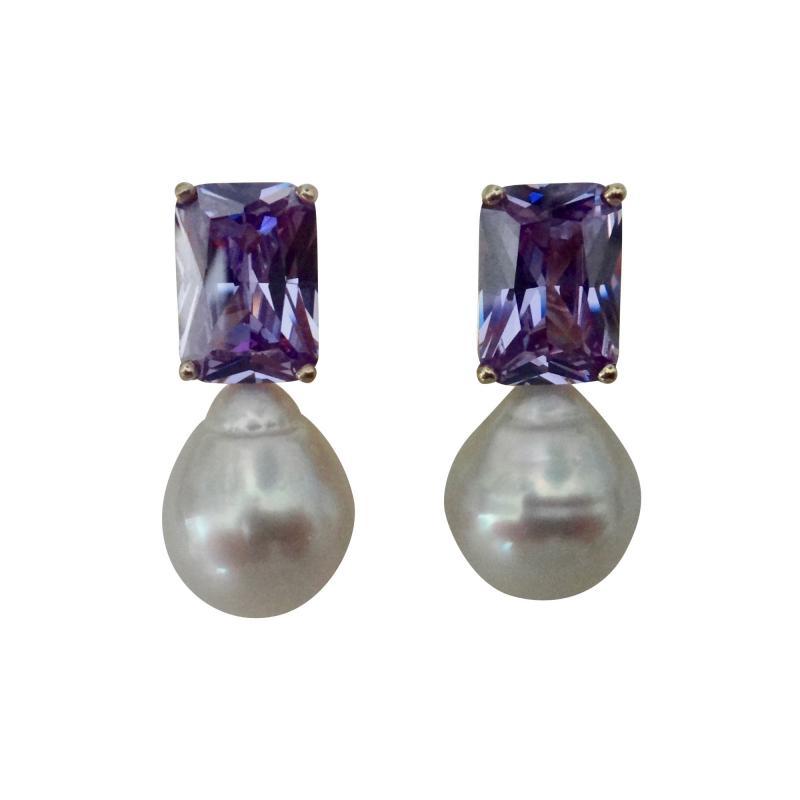 Michael Kneebone Michael Kneebone Lavender Zircon Paspaley South Seas Pearl Drop Earrings