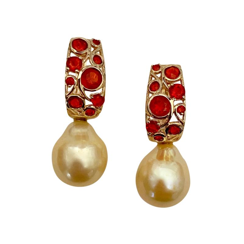 Michael Kneebone Michael Kneebone Mexican Fire Opal Golden South Seas Pearl Drop Earrings