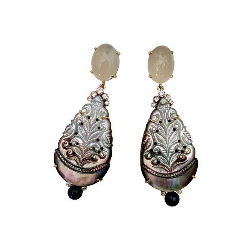 Michael Kneebone Michael Kneebone Moonstone Diamond Mother Of Pearl Black Pearl Dangle Earrings