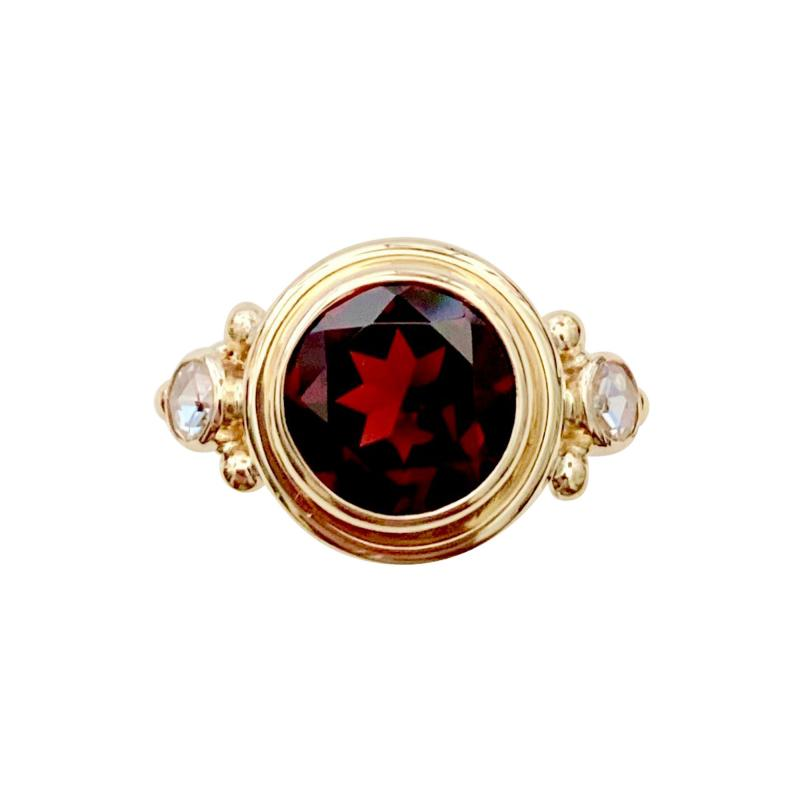 Michael Kneebone Michael Kneebone Mozambique Garnet Rose Cut Diamond Archaic Style Ring