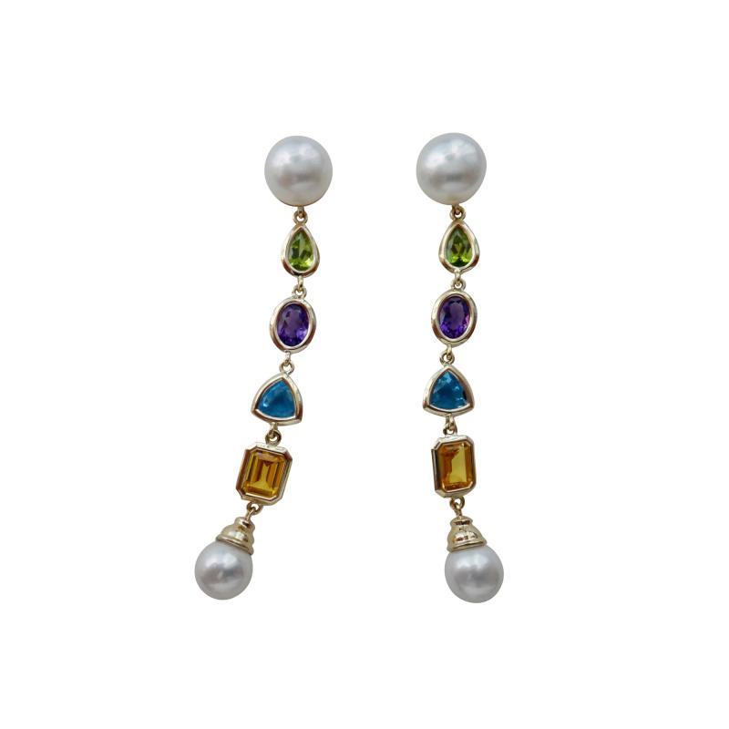 Michael Kneebone Michael Kneebone Multi gemstone Paspaley South Seas Pearl Dangle Earrings