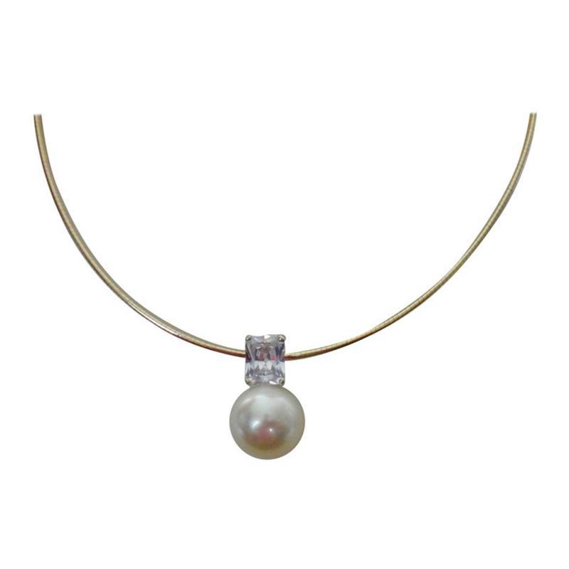 Michael Kneebone Michael Kneebone Paspaley South Seas Pearl White Sapphire Omega Necklace