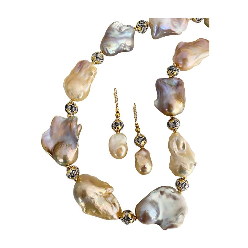 Michael Kneebone Michael Kneebone Pastel Baroque Pearl Granulated Bead Necklace Earring Suite