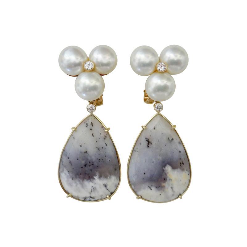 Michael Kneebone Michael Kneebone Pearl Cluster Diamond Dendritic Opal Dangle Earrings