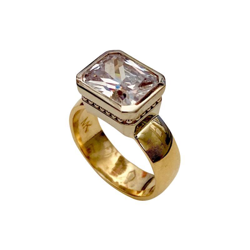 Michael Kneebone Michael Kneebone Radiant Cut White Sapphire Two Tone 18 Karat Leah Ring
