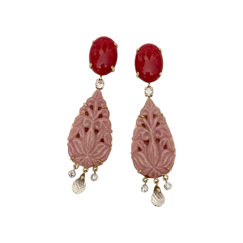 Michael Kneebone Michael Kneebone Red Coral Diamond Rock Crystal Rosaline Dangle Earrings