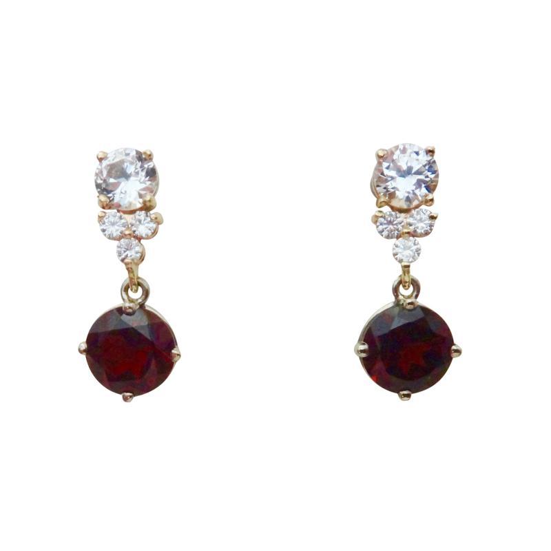 Michael Kneebone Michael Kneebone Rhodolite Garnet White Sapphire Diamond Dangle earrings