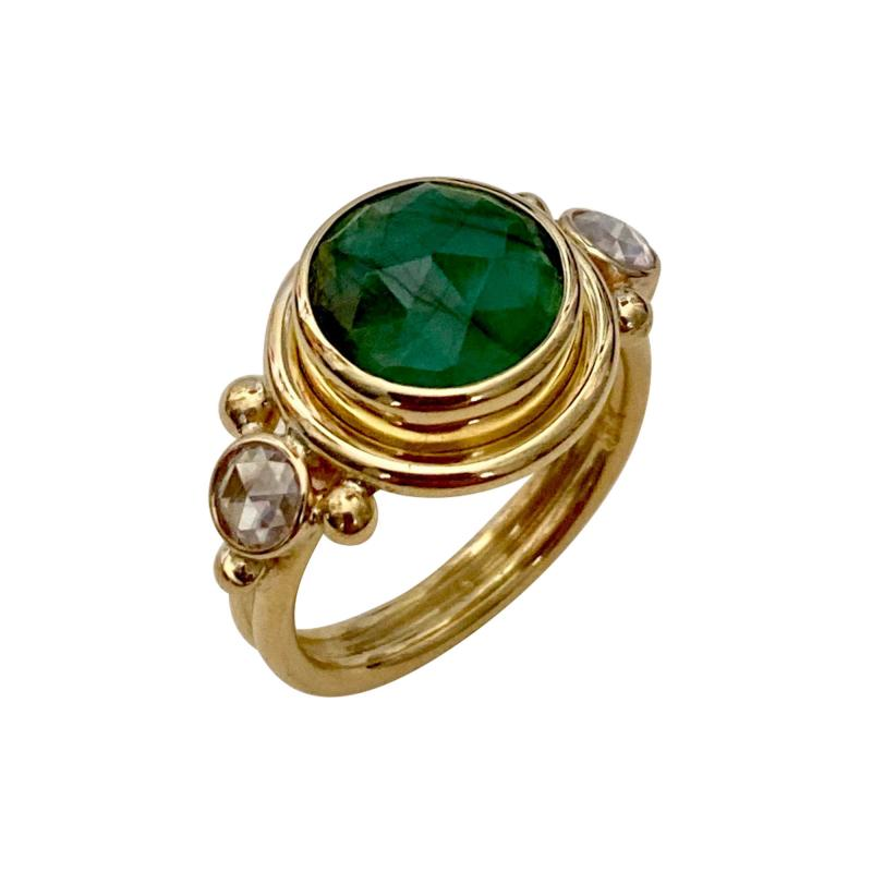 Michael Kneebone Michael Kneebone Rose Cut Emerald Rose Cut Diamond Archaic Style Cocktail Ring