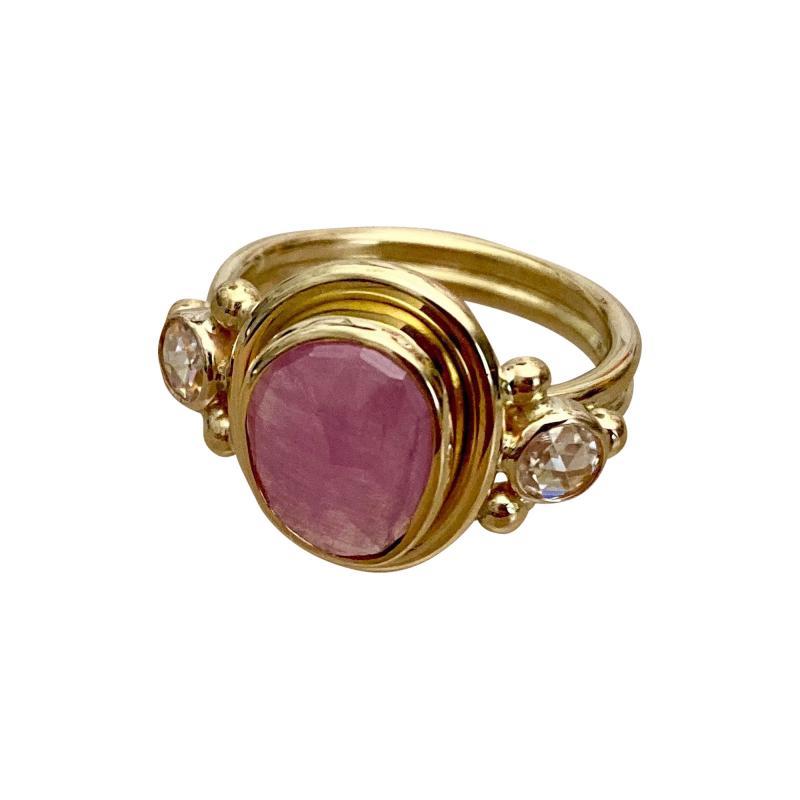 Michael Kneebone Michael Kneebone Rose Cut Pink Sapphire Diamond Archaic Style Cocktail Ring