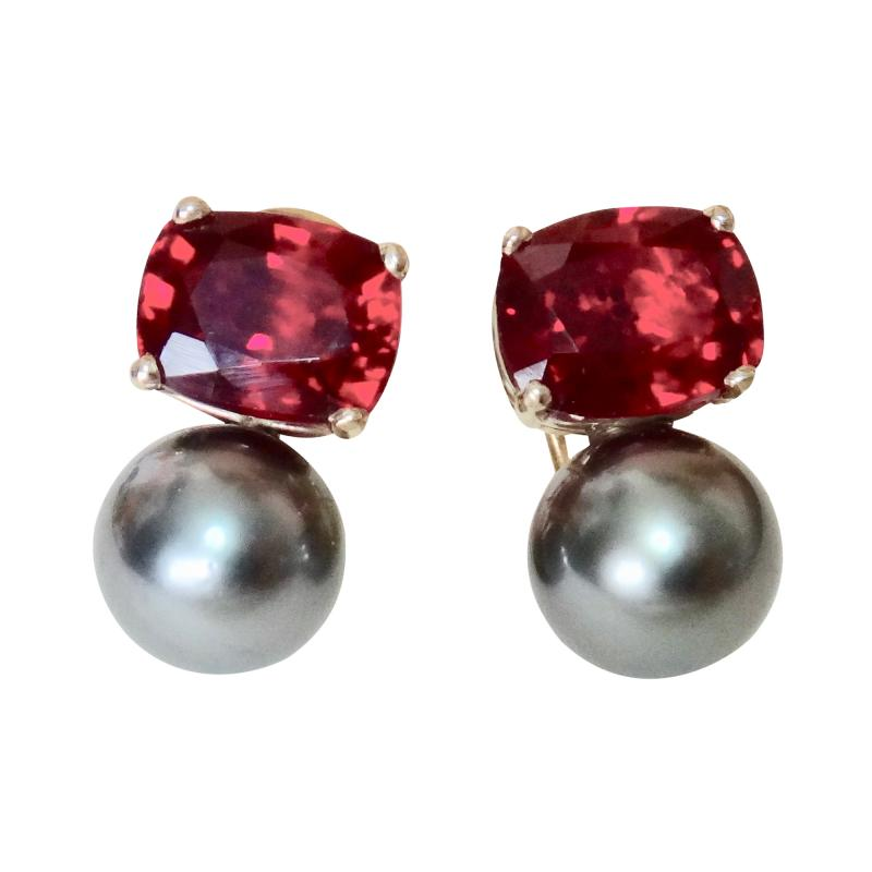 Michael Kneebone Michael Kneebone Rubellite Tourmaline Tahitian Pearl Drop Earrings