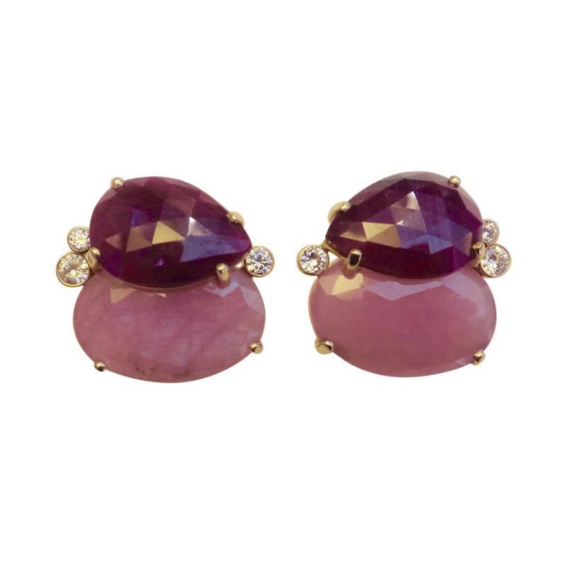 Michael Kneebone Michael Kneebone Ruby Pink Sapphire Diamond 18k Gold Button Earrings