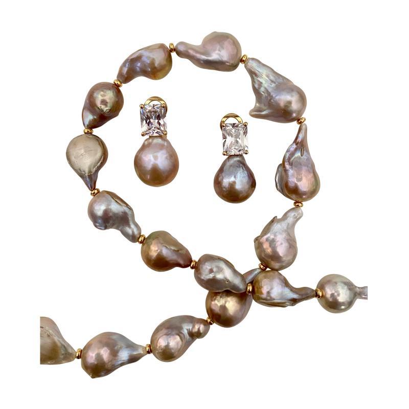Michael Kneebone Michael Kneebone Sapphire Flame Ball Pearl Necklace Earring Suite