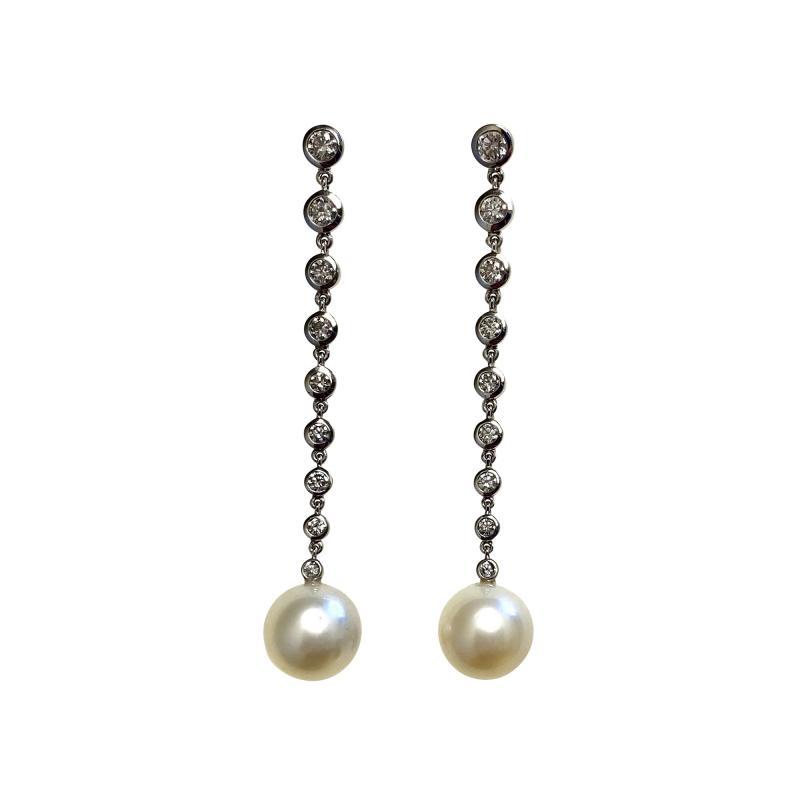 Michael Kneebone Michael Kneebone South Seas Pearl Diamond White Gold Dangle Earrings