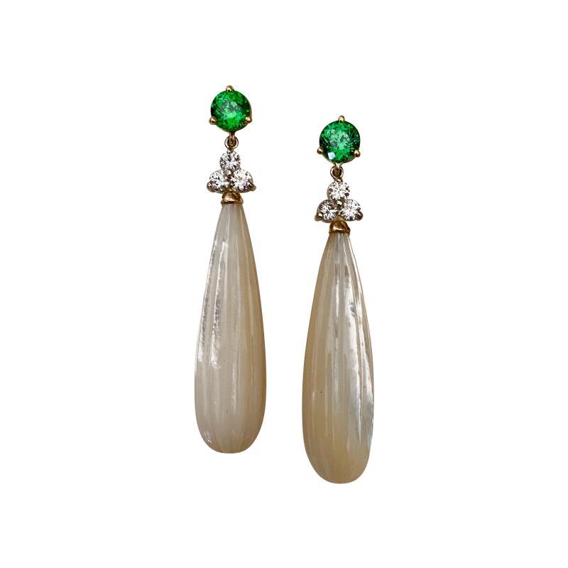 Michael Kneebone Michael Kneebone Tsavorite Garnet Diamond Mother of Pearl Dangle Earrings