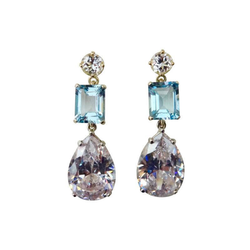 Michael Kneebone Michael Kneebone White Sapphire Blue Zircon White Topaz Dangle Earrings