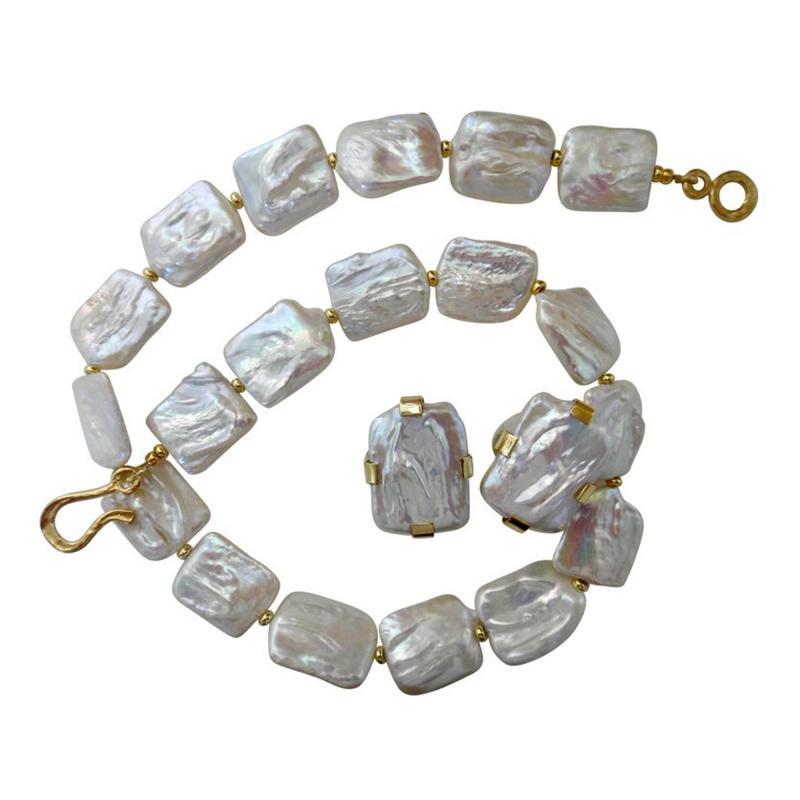 Michael Kneebone Michael Kneebone White Tile Pearl Earring Necklace Suite