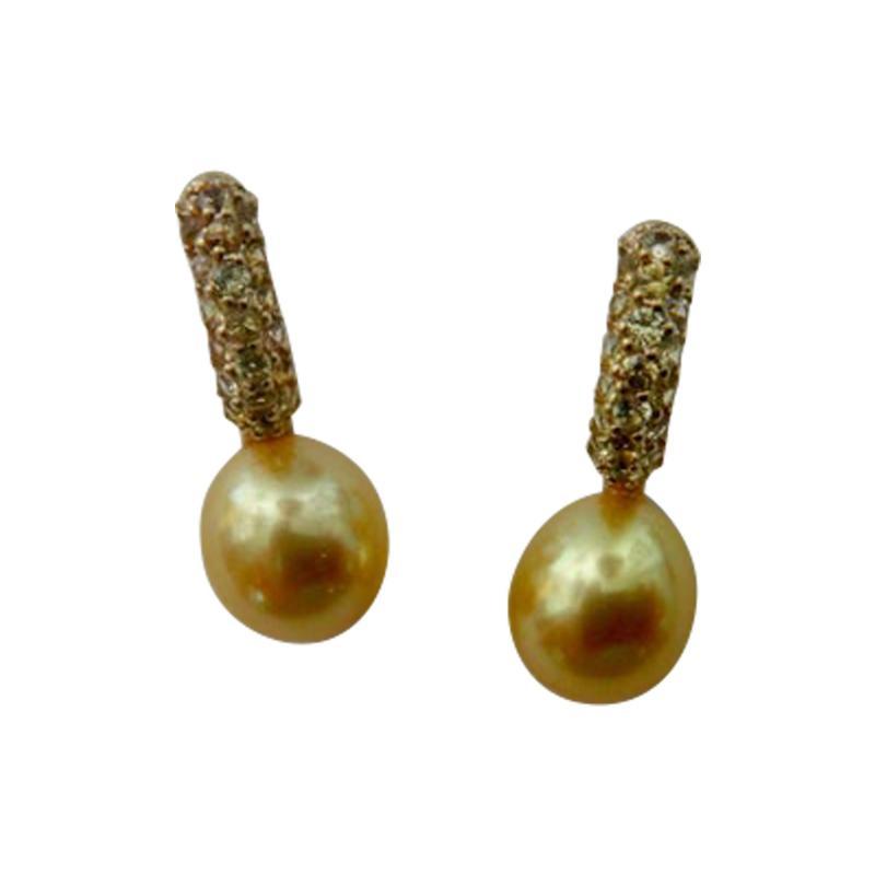 Michael Kneebone Michael Kneebone Yellow Diamond Golden South Seas Pearl Drop Earrings