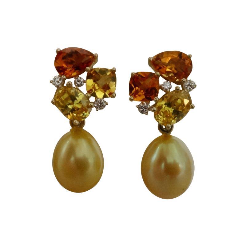 Michael Kneebone Michael Kneebone Yellow Sapphire Topaz Citrine Diamond Pearl Confetti Earrings